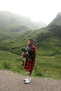 Bagpipes. While driving down a country road in Scotland, there was a Scotsman walking along in full tartan regalia with his Bagpipes.