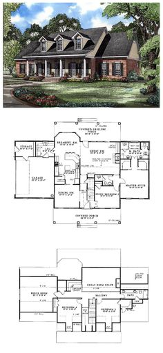 #Colonial #HousePlan 62072 | Covered porch gives this home classic appeal. The two-story great-room, overlooked by a balcony, features built-ins, a wall of windows and a fireplace. In the main-level right wing, twin walk-in closets and a luxurious bath embellish the master suite. Total Living Area: 2603 Main Living Area: 1813 Upper Living Area: 790 Bonus Area: 410 Garage Area: 533- 2 car Number of Stories: 2 Bedrooms: 4 Full Baths: 2 Half Baths: 1