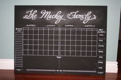 Double Calendars, grocery list and menu and extra large notes section Chalkboard Calendar, Calendar Board, Custom Calendar, Magnetic Calendar, Family Command Center, Chore Charts, Reward System, Family Organizer, Grocery Lists