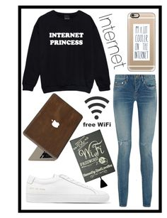A fashion look from February 2016 featuring shirt sweater, distressed jeans and white shoes. Common Projects, Casetify, Yves Saint Laurent, Cute Outfits, Internet, Princess, My Style, Polyvore, Fashion
