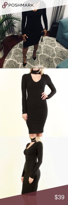 """🍁Ribbed Bodycon Dress w/Choker NWT. Color is Black. Soft brushed ribbed knit, long sleeves. Dress features a connected choker detail. 40"""" long. Some stretch. Material is nice and thick so it will help smooth you out. Keep it classy with pointed heels and a simple shoulder bag. You will reach for this over and over. Size up one from normal size. I am wearing M at 135lbs. Fits perfectly. Dresses Long Sleeve"""