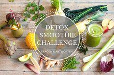 Detox-Smoothie-Challenge-Banner zum FAQ mit Zutaten und Smoothies