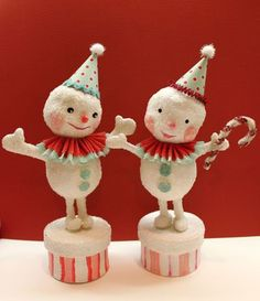 Cutie vintage snowmen
