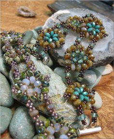 Harmonious Beaded Flower Clusters Bracelet Pattern and Tutorial for purchase $10.00, via Etsy.