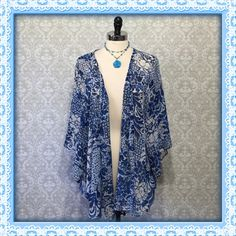 Cobalt blue floral print open front kimono top Beautiful & airy spring kimono top is perfect to wear with jeans or shorts. Flattering mid thigh length. Polyester. Size large. EUC Forever 21 Tops Blouses