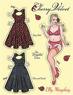 Ella Mayday - Cherry Velvet Pin Up Paper Doll - chubby / heavy / overweight / plus-sized