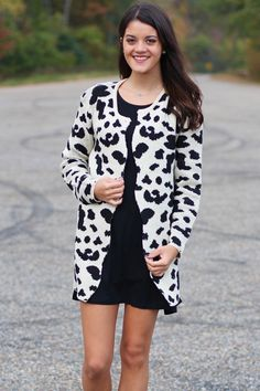 Animal Print Scalloped Cardigan {Cream} - The Fair Lady Boutique - 1