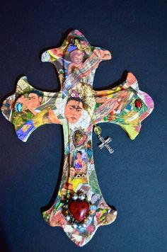 Frida Kahlo Mexican Art  Milagro Crucifix 1 by OliviabyDesign, $16.95