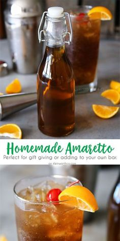 Love the classic almond liqueur Amaretto? Then you will swoon over this Homemade… Love the classic almond liqueur Amaretto? Then you will swoon over this Homemade Amaretto Recipe. It's quick & easy & a. Cocktail Drinks, Fun Drinks, Yummy Drinks, Cocktail Recipes, Alcoholic Drinks, Beverages, Liquor Drinks, Liquor Bottles, Homemade Alcohol