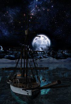 Night, Full Moon, Ship, Lake, Ocean