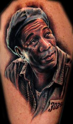 I'm not much of a portrait tattoo person but you have to respect how awesome this looks. Morgan Freeman in Shawshank Redemption Top Tattoos, Great Tattoos, Beautiful Tattoos, Body Art Tattoos, Sleeve Tattoos, Portrait Tattoos, Nerdy Tattoos, Tatoos, Amazing Tattoos