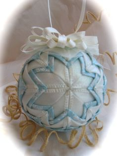 Frosty Sheen Eggshell Star Ribbon Ornament by ChristmasGal on Etsy, $19.48