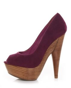 Purple suede, love this color with the wood heel