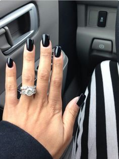 Today your Glam Radar makes special selection of beautiful dark nails only for you. You can finally quit using bright and pastel colors and instead focus on a darker nail polish shades . And if you find them not enough interesting and stylish Nails Only, Love Nails, How To Do Nails, Fun Nails, Cute Black Nails, Black Nails Short, Nail Black, Black Manicure, Green Nail