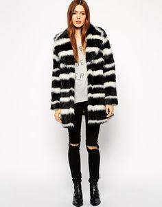 Enlarge ASOS Faux Fur Coat in Mono Stripe