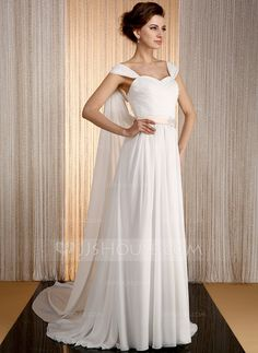 A-Line/Princess Sweetheart Watteau Train Sash Beading Appliques Lace Zipper Up Cap Straps Sleeveless Church General Plus No Spring Summer Ivory Chiffon Wedding Dress