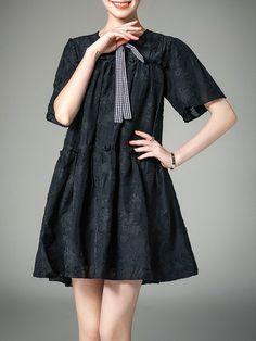 Shop Mini Dresses - Black Jacquard A-line Short Sleeve Jacquard Mini Dress online. Discover unique designers fashion at StyleWe.com.