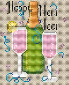 Happy New Year's Cross Stitch Pattern! This free pattern is fun and easy. Find this and many more free cross stitch patterns at Craftown.