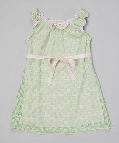 Look at this #zulilyfind! Mint & Pink Flower & Stripe Dress - Toddler & Girls #zulilyfinds