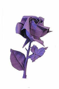 Origami Diagrams, Rose Tutorial, Origami Flowers, Love Rose, Paper Folding, Flower Making, Periwinkle, Lilac, Lavender