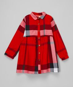 Look at this Red Plaid Shirt Dress - Toddler & Girls on #zulily today!