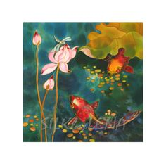 Another lovely silk koi fish painting by Denver area artist Yelena Sidorova.