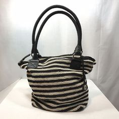 6a5e00eff0b The Sak Casual Black Tan Cream Stripe Purse Crochet Shoulder Bag Large Tote   TheSak
