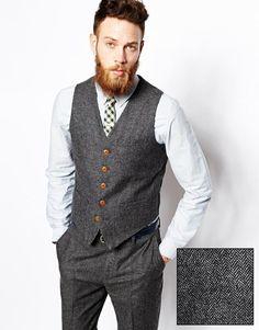 ASOS | ASOS Slim Fit Waistcoat In Herringbone at ASOS