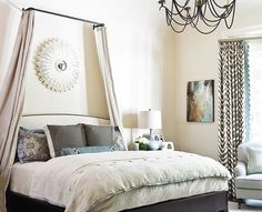 Metal Rod - 13 Gorgeous DIY Canopy Beds ... [ more at http://diy.allwomenstalk.com ] The link below doesn't show a tutorial but I think you can copy this canopy quite easily without a step-by-step guide. This looks like a metal rod that you can buy in any hardware store. Install above your headboard and use it for hanging the canopy around your bed.Inspiration... #Diy #Canopy #Style #Sheer #Little #Creative