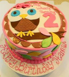 Owl cake, Look Who's turning 2! Made by @kristinbrewer