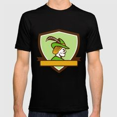 Robin Hood Side Ribbon Crest Retro Illustration of a Robin Hood wearing medieval hat with a pointed brim and feather viewed from side set inside shield crest with ribbonon isolated background done in retro style. #illustration #RobinHood