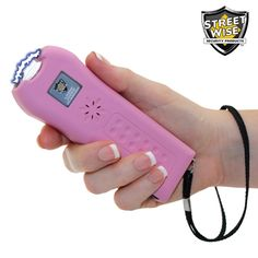Streetwise Ladies' Choice triple defense 21M volt stun gun uses Squeeze-N-Stun tech. with disable pin and safety switch protection.