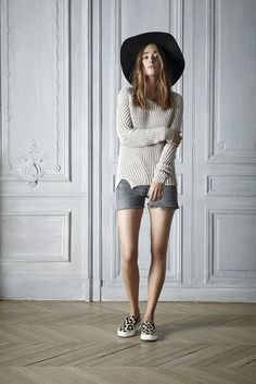 #spring #style #fashion #white #sweater #hat #short #outfit #beautiful #womenswear