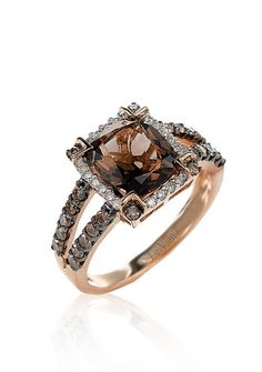 Le Vian® Chocolate Quartz®, Chocolate Diamond®, and Vanilla Diamond® Ring in 14k Strawberry Gold®