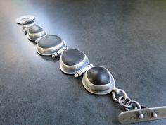 Beach Stone  Sterling Silver Bracelet Rustic by fentondesign