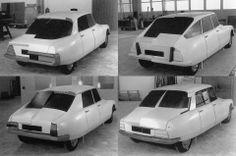 Différents traitements arrières lors du restyling de la DS par l'équipe de Robert Opron, 1966-1967