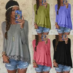 Fashion Women Long Sleeve Shirt Casual Lace Blouse Loose Cotton Tops T Shirt #Generic #Blouse #Casual