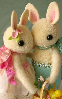 Bunnies cute kawaii rabbit plushie photo great for wedding, valentine or easter card