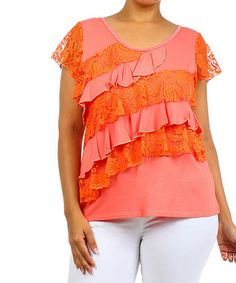 Look what I found on #zulily! Coral Lace Ruffle Tee - Plus by J-Mode USA Los Angeles #zulilyfinds