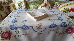 Stunning Vintage Embroidered Cross-Stitched Roses Tablecloth & Napkin Set