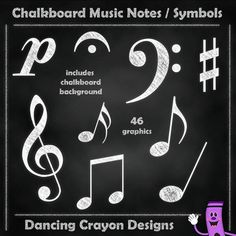 Music notes with a chalk effect - clip art set.  $
