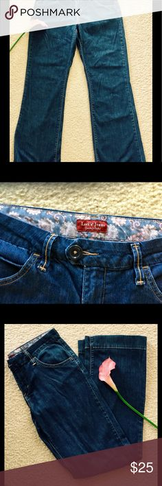 "Cute flirty fitting Levi's Jeans size 6 Fun and flirty Levi jeans size 6, great for a night on the town with friends or a day stroll around town. Buttons on the back pockets and is hemmed.  31"" inseam Like new condition 99% Cotton, 1% Spandex Levi's Jeans"