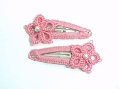 Pink Baby Hair Clips Pink Tatting Hair Clips Girl Baptism