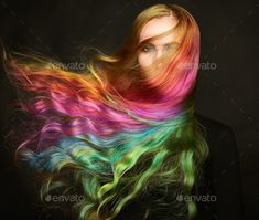 Portrait of young beautiful woman with long flying hair