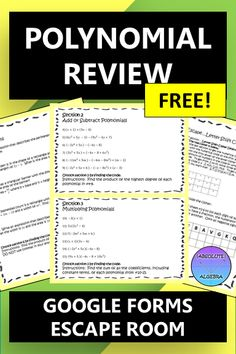 This is a NO PREP Escape Room! Just hand your Algebra students the worksheet, give them the URL for the google form and they're ready to go. This polynomial operations review activity encourages team building and critical thinking. It includes 30 problems… adding, subtracting, multiplying, dividing, and word problems. They will also need to know their vocabulary, all included. Detailed teacher Instructions are also included. #Polynomials, #Algebra, #Escape Room, #Google Forms, #Google Apps Math Resources, Math Activities, Math Games, Importance Of Time Management, Secondary Math, Secondary Resources, Algebra 1, Algebra Worksheets, Word Problems