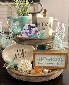 Home Decor Ideas Bedroom Table Centerpieces For Home, Tray Styling, Mermaid Beach, Vintage Kitchen Decor, Tray Decor, Summer Diy, Unique Home Decor, Plant Decor, Coastal Decor