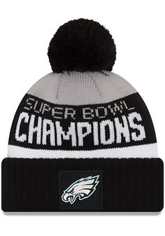 New Era Philadelphia Eagles Mens Black 2018 SB LII Champion Parade Cuff  Knit Hat 7c0c68f1d