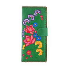 Mexican flora embroidered vegan large flat wallet LAVISHY Mexican flora embroidered large vegan flat wallet for women– LAVISHY Boutique Embroidery Motifs, Flower Embroidery, Mexican Flowers, Small Wallet, Embroidered Flowers, Wallets For Women, Cool Gifts, Red And Blue, Fashion Accessories