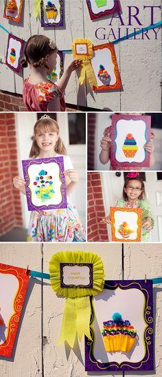 art party, art parti, galleri, birthday parties, ribbon, party crafts, cupcake art, art shows, parti idea