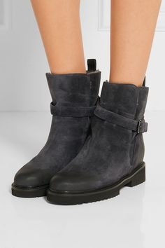 Vince | Claudia shearling-lined suede ankle boots | NET-A-PORTER.COM